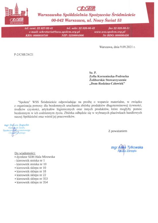 """""""Społem"""" WSS Śródmieście pomaga bezdomnym"""